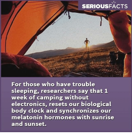 Memes, Sunrise, and 🤖: SERIOUS FACTS  For those who have trouble  sleeping, researchers say that 1  week of camping without  electronics, resets our biological  body clock and synchronizes our  melatonin hormones with sunrise  and sunset.