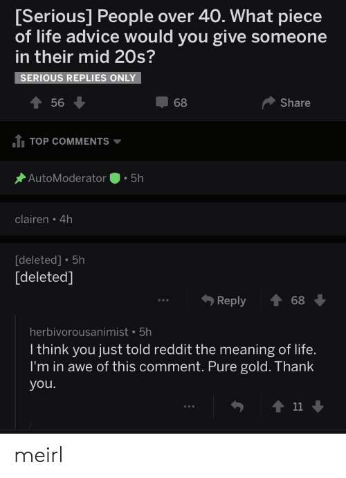 Advice, Life, and Reddit: Serious] People over 40. What piece  of life advice would you give someone  in their mid 20s?  SERIOUS REPLIES ONLY  56 ↓  68  Share  ふTOP COMMENTS ▼  AutoModerator . 5h  clairen 4h  deleted] 5h  [deleted]  Reply  68  herbivorousanimist 5h  I think you just told reddit the meaning of life.  I'm in awe of this comment. Pure gold. Thank  you.  ↑11 ↓ meirl