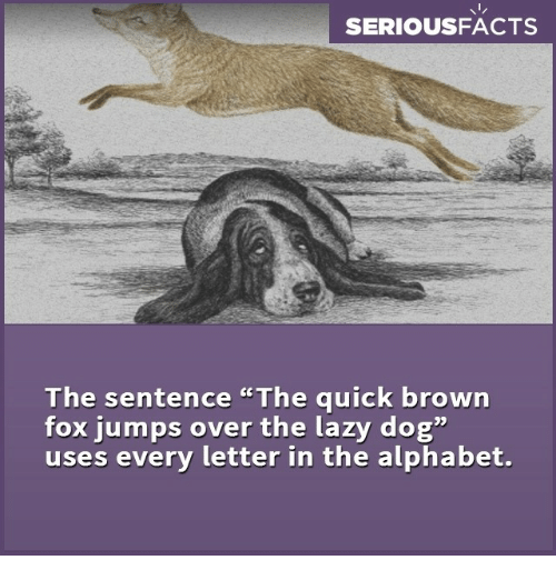 SERIOUSFACTS the Sentence the Quick Brown Fox Jumps Over the