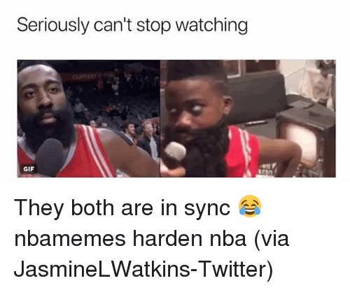 Basketball, Gif, and Nba: Seriously can't stop watching  GIF They both are in sync 😂 nbamemes harden nba (via ‪JasmineLWatkins-Twitter)