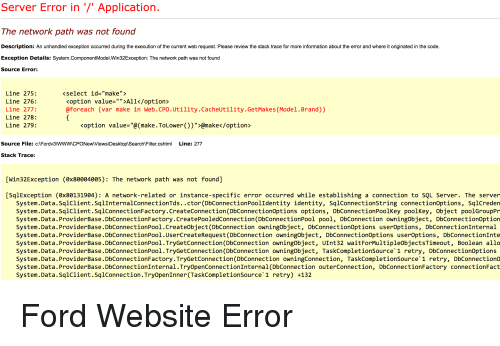 Server Error in Application the Network Path Was Not Found