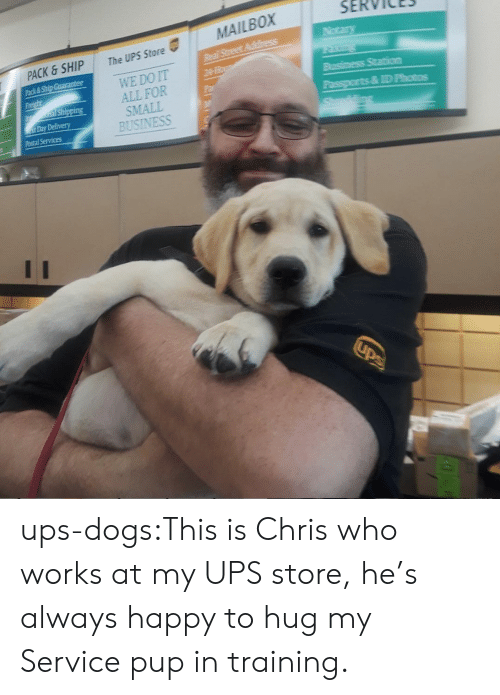 Dogs, Target, and Tumblr: SERVICES  The UPS Store  WE DO IT  ALL FOR  SMALL  BUSINESS  PACK & SHIP  ack& Ship Guarantee  Day Delivery  ID Photos  Postal Services ups-dogs:This is Chris who works at my UPS store, he's always happy to hug my Service pup in training.