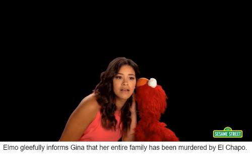 SESAME STREET Elmo Gleefully Informs Gina That Her Entire