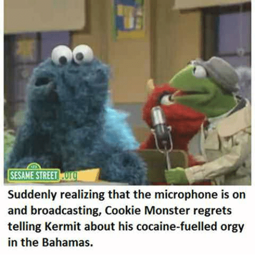 Cookie Monster, Monster, and Orgy: SESAME STREETUTO  Suddenly realizing that the microphone is on  and broadcasting, Cookie Monster regrets  telling Kermit about his cocaine-fuelled orgy  in the Bahamas.