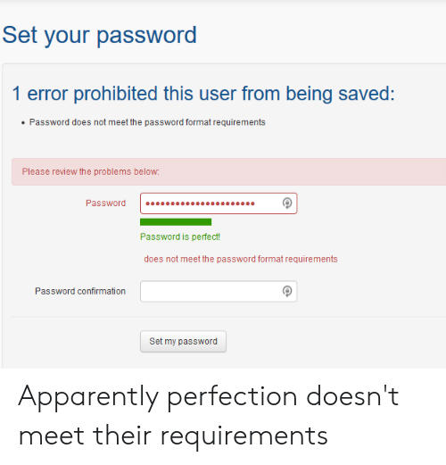Set Your Password 1 Error Prohibited This User From Being