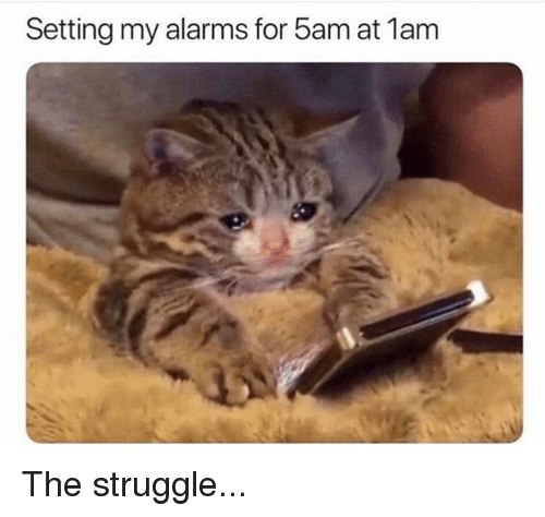 Struggle, For, and The Struggle: Setting my alarms for 5am at 1am The struggle...