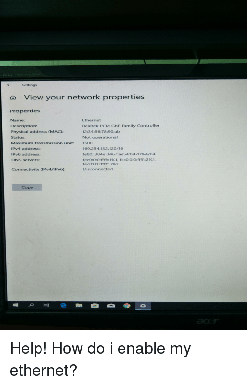 Settings View Your Network Properties Properties Name