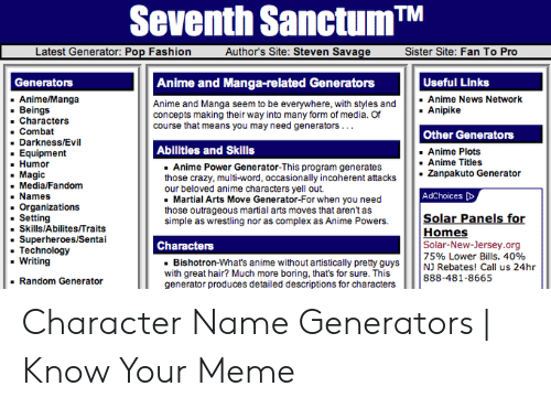 Seventh SanctumT Latest Generator Pop Fashion Author's Site Steven