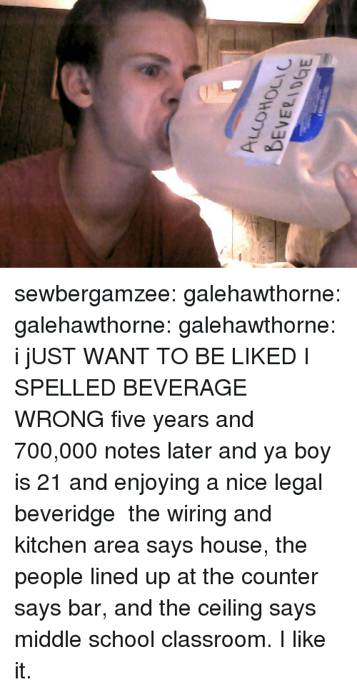 School, Target, and Tumblr: sewbergamzee:  galehawthorne:  galehawthorne:  galehawthorne:  i jUST WANT TO BE LIKED  I SPELLED BEVERAGE WRONG  five years and 700,000 notes later and ya boy is 21 and enjoying a nice legal beveridge   the wiring and kitchen area says house, the people lined up at the counter says bar, and the ceiling says middle school classroom. I like it.