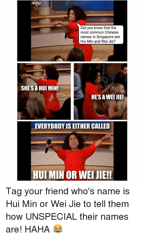 Memes, Chinese, and Common: SGAG  Did you know that the  most common Chinese  names in Singapore are  Hui Min and Wei Jie?  SHE'S A HUI MIN!  HES A WEI JIE!  EVERYBODY IS EITHER CALLED  HUI MIN OR WEI JIE! Tag your friend who's name is Hui Min or Wei Jie to tell them how UNSPECIAL their names are! HAHA 😂