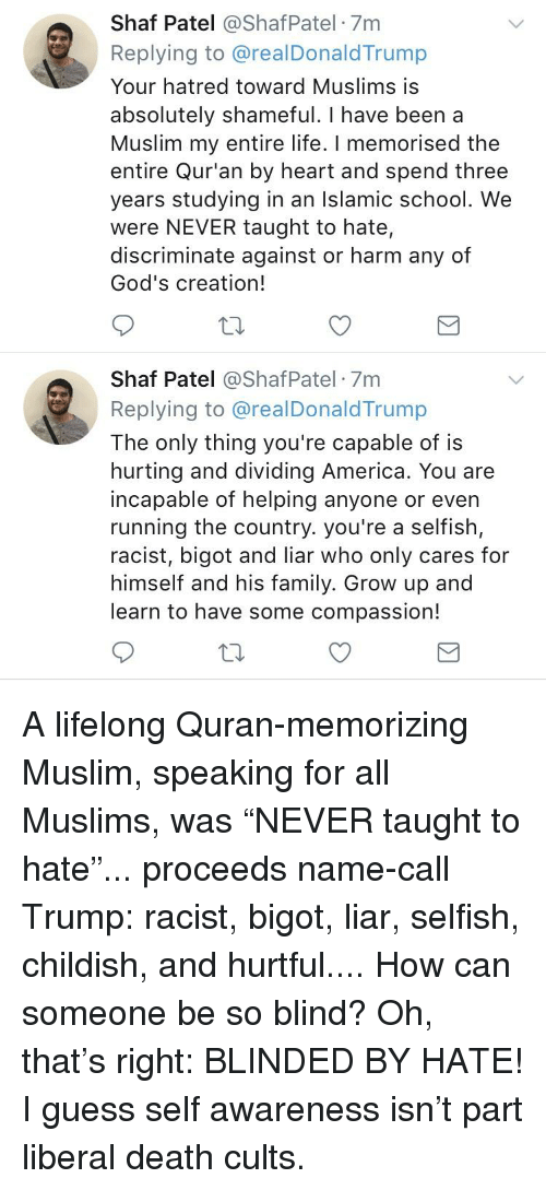 America, Family, and Life: Shaf Patel @ShafPatel 7m  Replying to @realDonaldTrump  Your hatred toward Muslims is  absolutely shameful. I have been a  Muslim my entire life. I memorised the  entire Qur'an by heart and spend three  years studying in an Islamic school. We  were NEVER taught to hate,  discriminate against or harm any of  God's creation!  Shaf Patel @ShafPatel 7m  Replying to @realDonaldTrump  The only thing you're capable of is  hurting and dividing America. You are  incapable of helping anyone or even  running the country. you're a selfish,  racist, bigot and liar who only cares for  mself and his family. Grow up a  learn to have some compassion!  nd