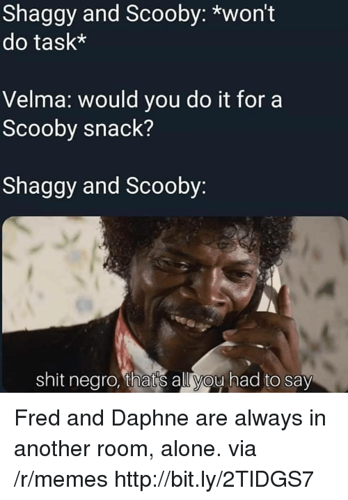 Being Alone, Memes, and Shit: Shaggy and Scooby: *won't  do task*  Velma: would you do it for a  Scooby snack?  Shaggy and Scooby  shit negro, thats all you had to say Fred and Daphne are always in another room, alone. via /r/memes http://bit.ly/2TlDGS7