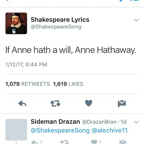 Shakespeare Lyrics Shakespeare Song If Anne Hath A Will