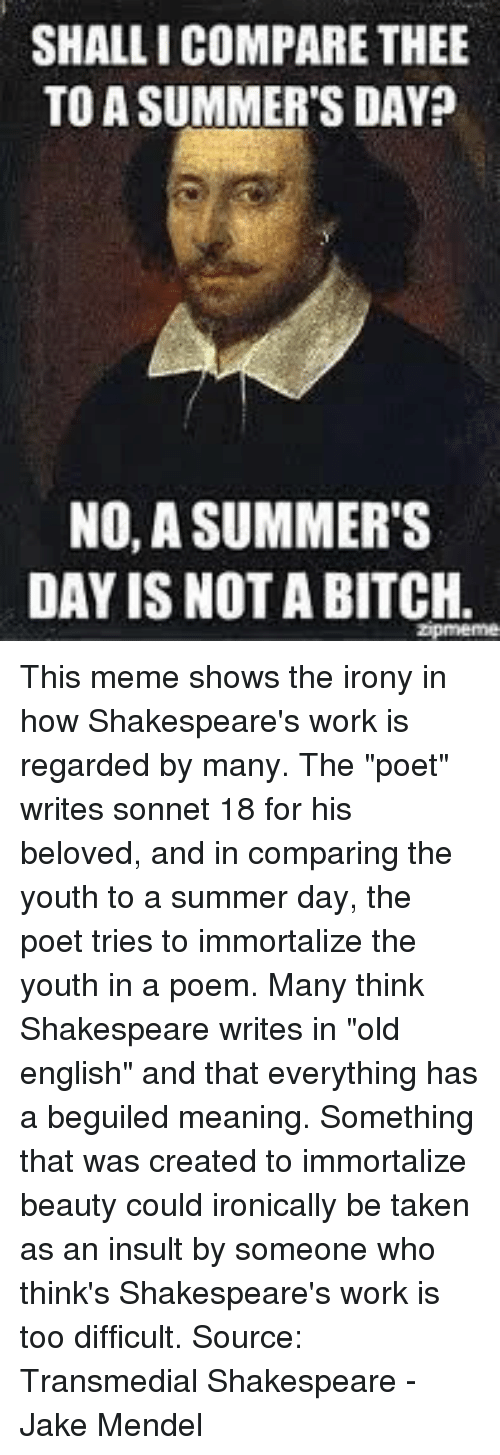 """Bitch, Meme, and Shakespeare: SHALLI COMPARE THEE  TO A SUMMER'S DAY?  NO, A SUMMER'S  DAY IS NOT A BITCH.  Zpmeme This meme shows the irony in how Shakespeare's work is regarded by many. The """"poet"""" writes sonnet 18 for his beloved, and in comparing the youth to a summer day, the poet tries to immortalize the youth in a poem. Many think Shakespeare writes in """"old english"""" and that everything has a beguiled meaning.  Something that was created to immortalize beauty could ironically be taken as an insult by someone who think's Shakespeare's work is too difficult. Source: Transmedial Shakespeare - Jake Mendel"""