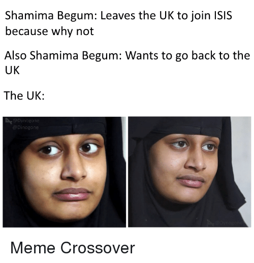 Isis, Meme, and Back: Shamima Begum: Leaves the UK to join ISIS  because why not  Also Shamima Begum: Wants to go back to the  UK  The UK  Meme Crossover