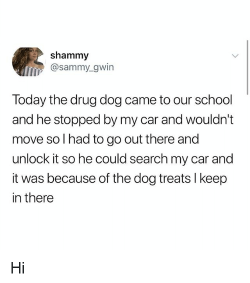 Memes, School, and Search: shammy  @sammy_gwin  IID  Today the drug dog came to our school  and he stopped by my car and wouldn't  move so l had to go out there and  unlock it so he could search my car and  it was because of the dog treats l keep  in there Hi