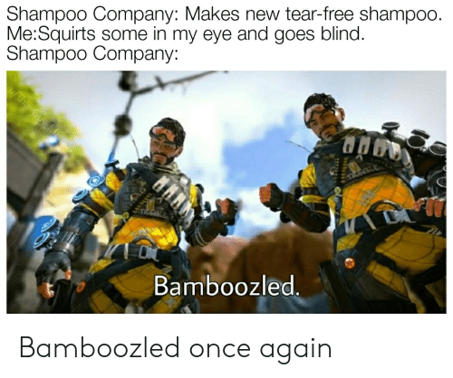 Free, Dank Memes, and Eye: Shampoo Company: Makes new tear-free shampoo.  Me:Squirts some in my eye and goes blind.  Shampoo Company:  This Guy-Menes  TKON  Bamboozled. Bamboozled once again