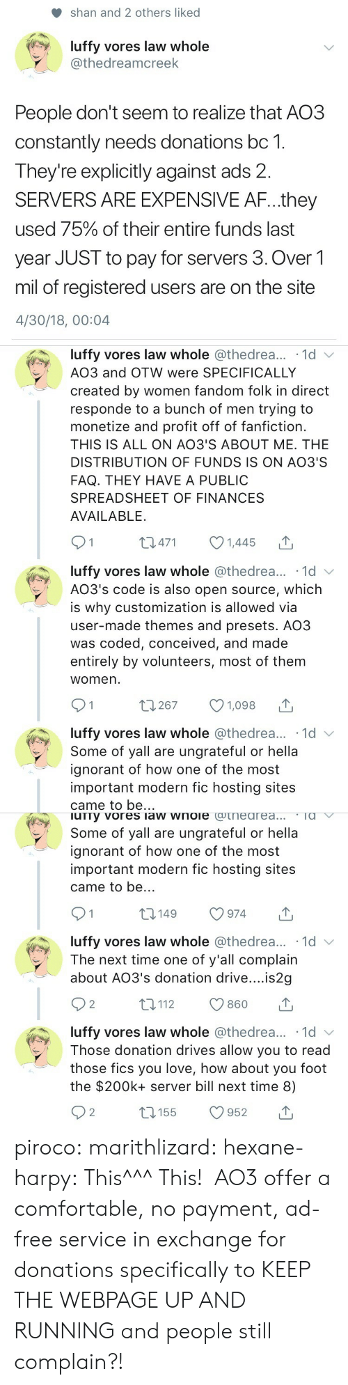 Af, Comfortable, and Fanfiction: shan and 2 others liked  luffy vores law whole  @thedreamcreek  People don't seem to realize that AO3  constantly needs donations bc 1.  Theyre explicitly against ads 2.  SERVERS ARE EXPENSIVE AF...they  used 75% of their entire funds last  year JUST to pay for servers 3. Over1  mil of registered users are on the site  4/30/18, 00:04   luffy vores law whole @thedrea... 1d v  AO3 and OTW were SPECIFICALLY  created by women fandom folk in direct  responde to a bunch of men trying to  monetize and profit off of fanfiction.  THIS IS ALL ON AO3'S ABOUT ME. THE  DISTRIBUTION OF FUNDS IS ON AO3'S  FAQ. THEY HAVE A PUBLIC  SPREADSHEET OF FINANCES  AVAILABLE.  01 0471 1445  luffy vores law whole @thedrea... 1d  AO3's code is also open source, which  is why customization is allowed via  user-made themes and presets. AO3  was coded, conceived, and made  entirely by volunteers, most of them  womern  luffy vores law whole @thedrea... 1d  Some of yall are ungrateful or hella  ignorant of how one of the most  important modern fic hosting sites  came to be..   urry vores law wnoie cotneareaTa  Some of yall are ungrateful or hella  ignorant of how one of the most  important modern fic hosting sites  came to be..  t0149 974  luffy vores law whole @thedrea... 1d v  The next time one of y'all complain  about AO3's donation drive....is2g  92 t112 860 T  luffy vores law whole @thedrea... 1d  Those donation drives allow you to read  those fics you love, how about you foot  the $200k+ server bill next time 8) piroco: marithlizard:  hexane-harpy: This^^^ This!  AO3 offer a comfortable, no payment, ad-free service in exchange for donations specifically to KEEP THE WEBPAGE UP AND RUNNING and people still complain?!