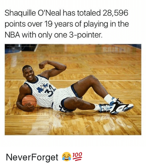 Memes, Nba, and Only One: Shaquille O'Neal has totaled 28,596  points over 19 years of playing in the  NBA with only one 3-pointer. NeverForget 😂💯