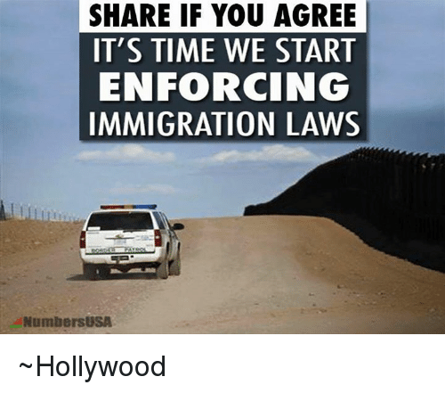 Memes, Immigration, and 🤖: SHARE IF YOU AGREE  IT'S TIME WE START  ENFORCING  IMMIGRATION LAWS  NumbersUSA ~Hollywood