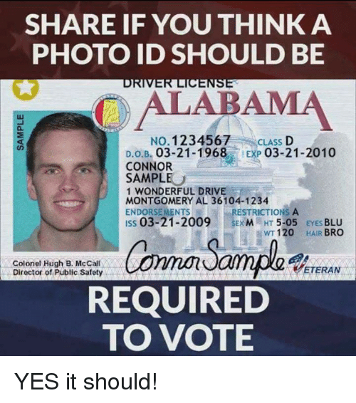 Memes, Drive, and Hair: SHARE IF YOU THINK A  PHOTO ID SHOULD BE  to  OALABAMA  0  NO. 1234567  CLASS D  D.o.B. 03-21-1968 EXP 03-21-2010  CONNOR  SAMPLE  1 WONDERFUL DRIVE  MONTGOMERY AL 36104-1234  ENDORSEMENTS  ISs 03-21-2009EM HT 5-05 EYES BLU  RESTRICTIONS A  WT 120  HAIR BRO  Colonel Hugh B. McCall  Director of Public Safety . .。  ( ETERAN  REQUIRED  TO VOTE YES it should!