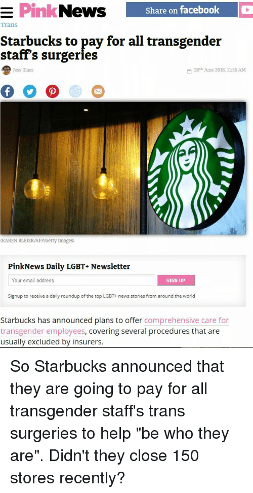 Share on Facebook | Trans Starbucks to Pay for All Transgender