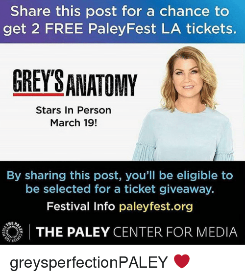 Share This Post For A Chance To Get 2 Free Paleyfest La Tickets