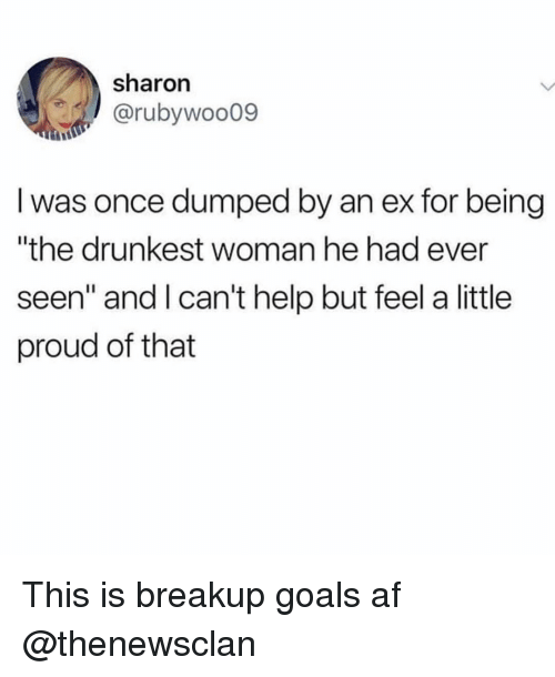 """Af, Funny, and Goals: sharon  @rubywoo09  I was once dumped by an ex for being  """"the drunkest woman he had ever  seen"""" and lcan't help but feel a little  proud of that This is breakup goals af @thenewsclan"""