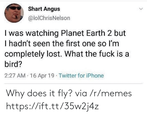 Iphone, Memes, and Twitter: Shart Angus  @lolChrisNelson  I was watching Planet Earth 2 but  I hadn't seen the first one so Im  completely lost. What the fuck is a  bird?  2:27 AM 16 Apr 19 Twitter for iPhone Why does it fly? via /r/memes https://ift.tt/35w2j4z