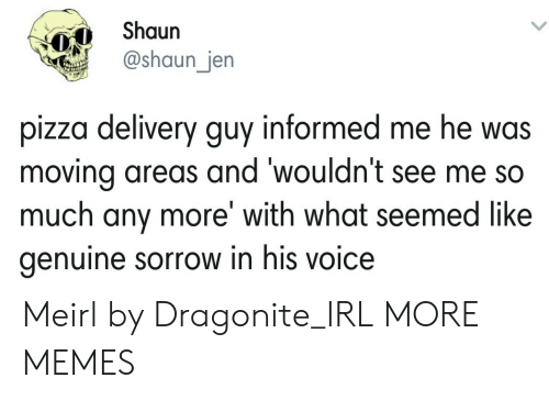 Dank, Memes, and Pizza: Shaun  @shaun_jen  pizza delivery guy informed me he was  moving areas and 'wouldn't see me so  much any more' with what seemed like  genuine sorrow in his voice Meirl by Dragonite_IRL MORE MEMES