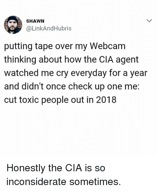 Girl Memes, How, and Cia: SHAWN  @LinkAndHubris  putting tape over my Webcam  thinking about how the CIA agent  watched me cry everyday for a year  and didn't once check up one me:  cut toxic people out in 2018 Honestly the CIA is so inconsiderate sometimes.