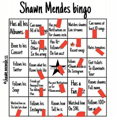 Shawn Mendes Bingo Watches Shawns Can Names At Has All His Can