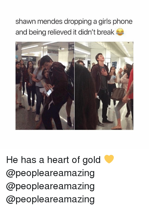Girls, Memes, and Phone: shawn mendes dropping a girls phone  and being relieved it didn't break He has a heart of gold 💛 @peopleareamazing @peopleareamazing @peopleareamazing