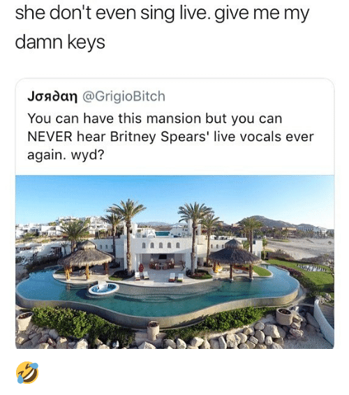 Britney Spears, Memes, and Wyd: she don't even sing live. give me my  damn keys  Joadan @GrigioBitch  You can have this mansion but you can  NEVER hear Britney Spears' live vocals ever  again. wyd? 🤣