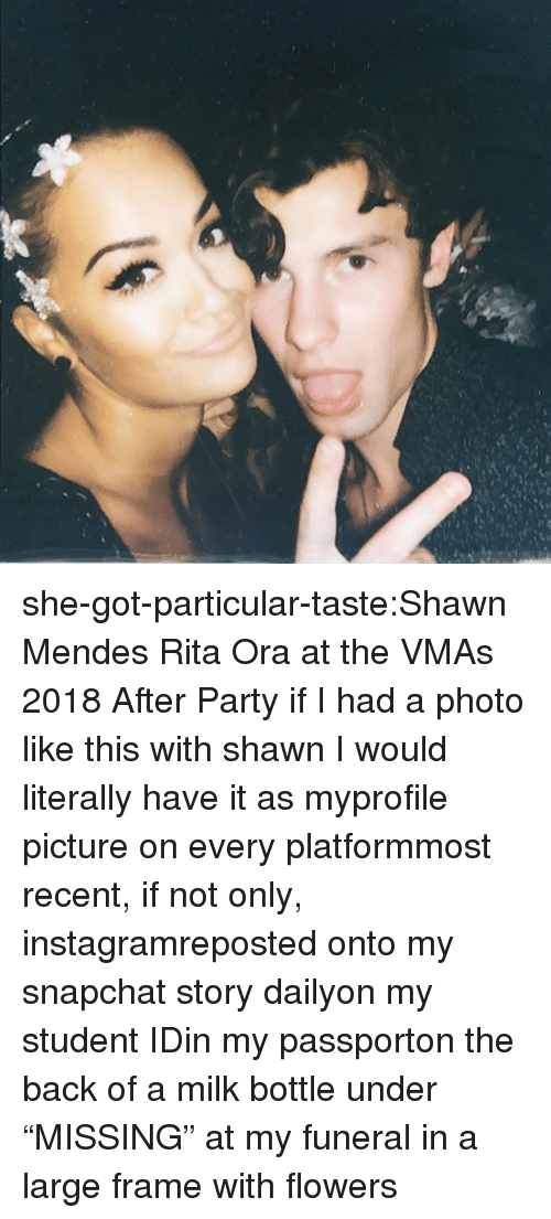 """Instagram, Party, and Snapchat: she-got-particular-taste:Shawn Mendes  Rita Ora at the VMAs 2018 After Party    if I had a photo like this with shawnI would literally have it as myprofile picture on every platformmost recent, if not only, instagramreposted onto my snapchat story dailyon my student IDin my passporton the back of a milk bottle under """"MISSING""""at my funeral in a large frame with flowers"""