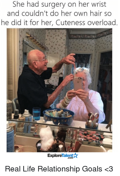 Goals, Life, and Memes: She had surgery on her wrist  and couldn't do her own hair so  he did it for her, Cuteness overload.  Talent  Explore Real Life Relationship Goals <3