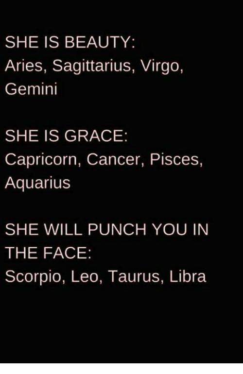 Beautiful, Funny, and Aquarius: SHE IS BEAUTY:  Aries, Sagittarius, Virgo,  Gemini  SHE IS GRACE:  Capricorn, Cancer, Pisces,  Aquarius  SHE WILL PUNCH YOU IN  THE FACE  Scorpio, Leo, Taurus, Libra