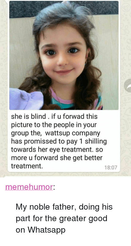 """Tumblr, Whatsapp, and Blog: she is blind. if u forwad this  picture to the people in your  group the, wattsup company  has promissed to pay 1 shilling  towards her eye treatment. so  more u forward she get better  treatment  18:07 <p><a href=""""http://memehumor.tumblr.com/post/158484623708/my-noble-father-doing-his-part-for-the-greater"""" class=""""tumblr_blog"""">memehumor</a>:</p>  <blockquote><p>My noble father, doing his part for the greater good on Whatsapp</p></blockquote>"""