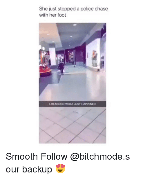Memes, Police, and Smooth: She just stopped a police chase  with her foot  LMFAOOOO WHAT JUST HAPPENED Smooth Follow @bitchmode.s our backup 😍