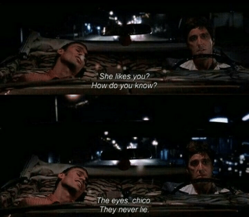 Never, How, and She: She likes you?  How do you know?  The eyes, chico  They never lie.