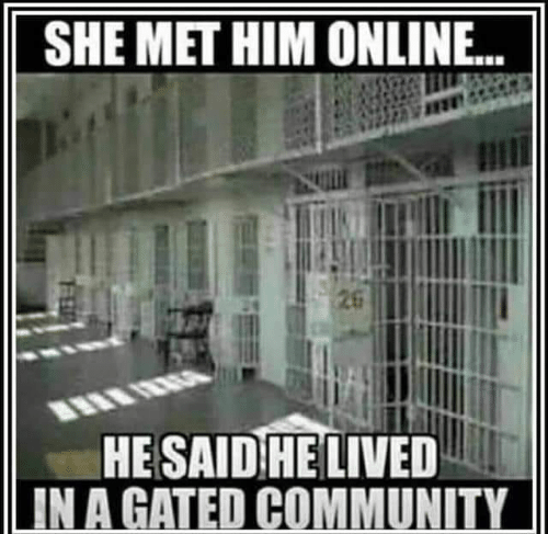 Community, Memes, and 🤖: SHE MET HIM ONLINE..  HE SAID HE LIVED  IN A GATED COMMUNITY