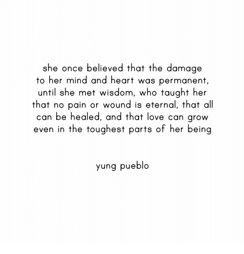 Love, Heart, and Mind: she once believed that the damage  to her mind and heart was permanent  until she met wisdom, who taught her  that no pain or wound is eternal, that al  can be healed, and that love can grow  even in the toughest parts of her being  yung pueblo