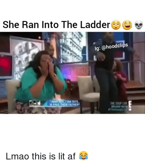 Funny, Lit AF, and Brand New: She Ran Into The Ladder  lg: @hood clips  INE SOUP IM  OR FATHER  BRAND NEW Lmao this is lit af 😂