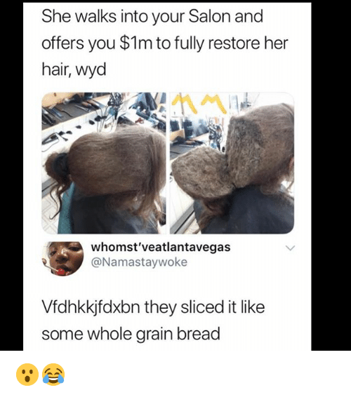 Memes, Wyd, and Hair: She walks into your Salon and  offers you $1m to fully restore her  hair, wyd  whomst'veatlantavegas  @Namastaywoke  Vfdhkkjfdxbn they sliced it like  some whole grain bread 😮😂