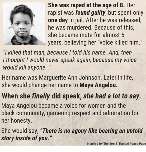 """Community, Jail, and Life: She was raped at the age of 8. Her  rapist was found guilty, but spent only  one day in jail. After he was released,  he was murdered. Because of this,  she became mute for almost 5  years, believing her """"voice killed him.""""  """"I killed that man, because I told his name. And, then  l thought I would never speak again, because my voice  would kill anyone...""""  Her name was Marguerite Ann Johnson. Later in life  she would change her name to Maya Angelou.  When she finally did speak, she had a lot to say.  Maya Angelou became a voice for women and the  black community, garnering respect and admiration for  her honesty.  She would say, """"There is no agony like bearing an untold  story inside of you.""""  Inspired by The Jon S. Randal Peace Page"""