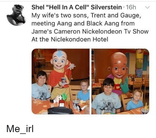 """Aang, Black, and Hotel: Shel """"Hell In A Cell"""" Silverstein 16h  My wife's two sons, Trent and Gauge  meeting Aang and Black Aang from  Jame's Cameron Nickelondeon Tv Show  At the Niclekondoen Hotel"""