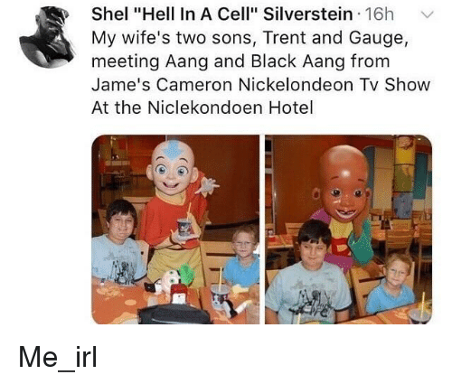 """Aang, Black, and Hotel: Shel """"Hell In A Cell"""" Silverstein 16h  My wife's two sons, Trent and Gauge,  meeting Aang and Black Aang from  Jame's Cameron Nickelondeon Tv Show  At the Niclekondoen Hotel"""