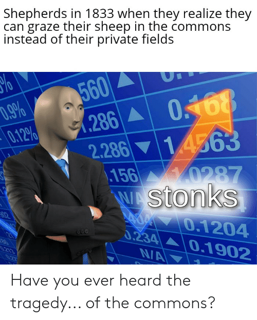 Dank Memes, Commons, and Private: Shepherds in 1833 when they realize they  can graze their sheep in the commons  instead of their private fields  560  .286 0168  14563  D.9%  0.12%  2.286  156 0287  WAStonks  070.1204  0.234 0.1902  N/A  02  213 Have you ever heard the tragedy... of the commons?