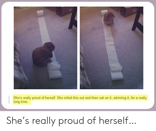 Time, Proud, and Sat: She's really proud of herself. She rolled this out and then sat on it, admiring it, for a  long time  really She's really proud of herself…