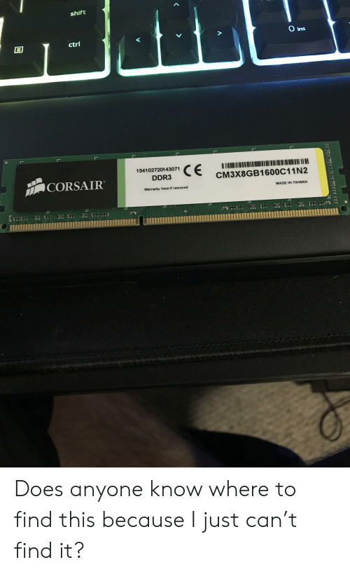 Shift Ctrl Ins 154102720143071 DDR3 CORSAIR CM3X8GB1600C11N2